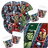 52-teiliges Party-Set MARVEL Avengers Power - Teller Becher Servietten für 16 Kinder