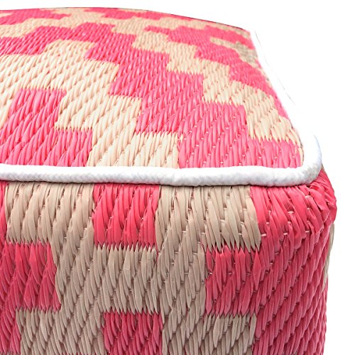 GD Home 45 x 45 x 45 cm Recycled Polypropylene and Polysterene  Indoor Outdoor Pouf, Pink/Cream