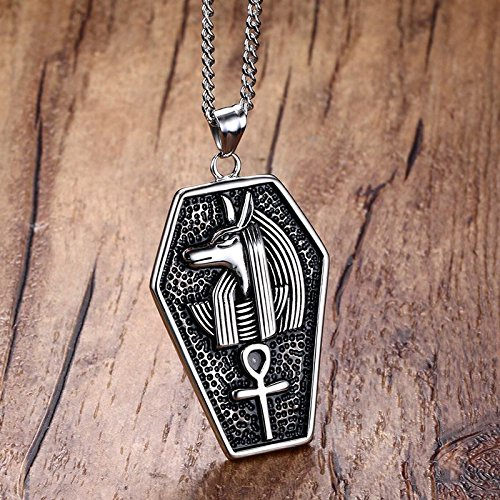 DADATU Halsketten für Herren Mens Halses Edelstahl Mystical Egypt Coffin Amulet Anubis Ankh Pendant Halskette Vintage Collares Collier Men Schmuck (Machen Anubis Kostüm)