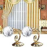 Hukz 2X große Metall Crystal Glas Vorhang Holdback Wand binden zurück Kleiderbügel Halter(79mm x 60mm) (Gold)
