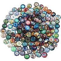 ULTNICE 200 stücke Runde Glasmosaik Fliesen Mixed Mosaik Glas Stücke für DIY Handwerk Schmuck Machen 14mm