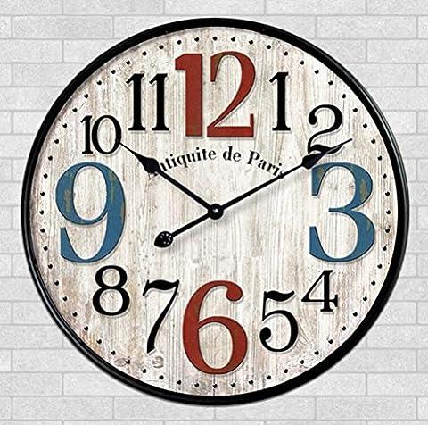 Sucastle,Europäisch, retro, holz, kreativ, einfach, Mode, Dekoration, Handwerk, Wohnzimmer, Wanduhr, Quarz, Wanduhr, stumm, Uhr, Uhr,Massivholz,30cm*30cm