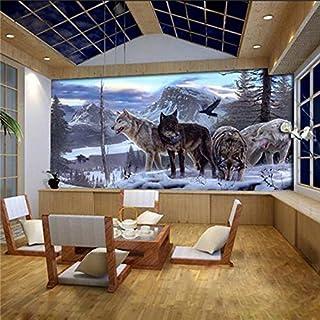 Große 3D Stereo Tapete Wandbild Sarg Wölfe Hintergrund Schlafzimmer TV Hintergrund Wand, XXL(13'6