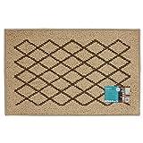 JVL Bergamo - Felpudo (Polipropileno y látex, 80 x 50 x 1,2 cm, Lavable a máquina), Color Beige y marrón
