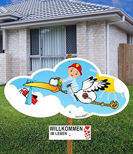 98 cm Baby-Klapperstorch FEUERWEHR JUNGE BLAU & Beschriftungstafel für draußen Geburt Storch-Holz Alternative