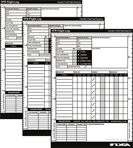 A5VFR Pilot Log Pad (Flight PLOG Buch) [3Pack]–Für PPL (A), lapl, PPL (H) & CPL Aviation Piloten...