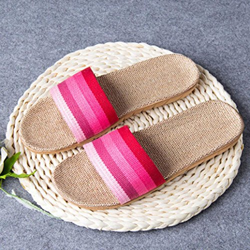KOLY Donna Uomini Anti-slip Linen Home Indoor Scarpe da tennis aperte in estate Pantofole Pink