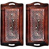 Azeem Arts Wooden Premium Quality Serving Tray With Hand Carved Design 13 Inch,Pack Of 2