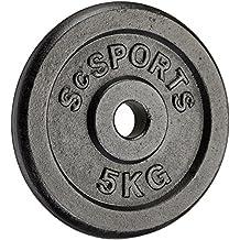 ScSPORTS - Pesi per bilanciere in ghisa, 4 x 5 kg, diametro foro 30 mm - Rotazione Disco
