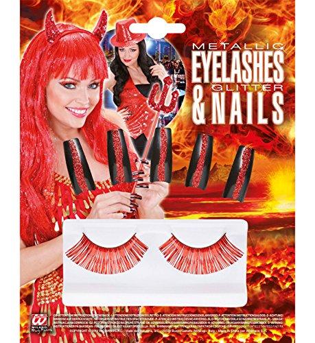 Set Wimpern Metallic und 10Nägel Glitter, rot, Einheitsgröße (Nägel Rote Teufel)