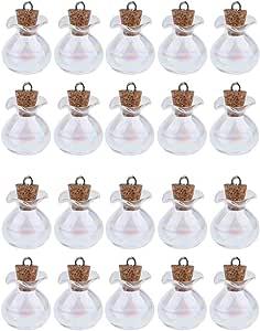 joyMerit Lot de 20 Petites Bouteilles en Verre Transparent avec Bouchon en Liège Mini Fioles