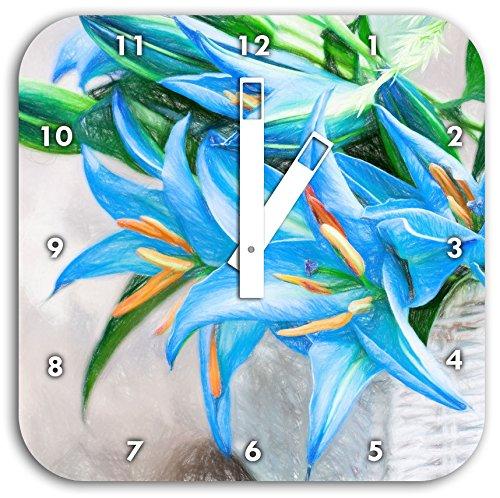 schöne blaue Blumen im Körbchen Kunst Buntstift Effekt, Wanduhr Durchmesser 28cm mit weißen...
