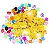 GOLDGE 50pcs Pièce d'Or Pirate Pièces de Trésor en Plastique Doré pour Pochettes et 50pcs Pirate Bijou Bijoux Pièces en Plastique Diamants Acrylique Trésor...