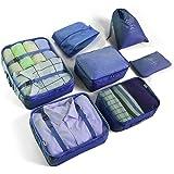 Lot de 7 cubes d'emballage pour bagages de voyage, sacs de rangement légers pour vêtements, grands organiseurs de bagages, po
