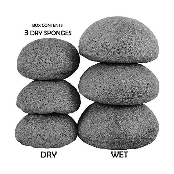 Juego de esponjas de konjak, con carbón de bambú activo, 3 unidades Para la limpieza y exfoliación de la piel.