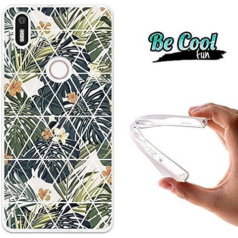 Becool® Fun - Funda Gel Flexible para Bq Aquaris X5 Plus ,Carcasa TPU fabricada con la mejor Silicona, protege y se adapta a la perfección a tu Smartphone y con nuestro exclusivo diseño. Flores y hojas
