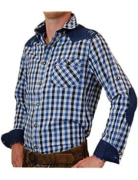 Freizeit und Trachtenhemd Franz in Bicolor mit Jeans in verschiedenen Farben