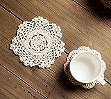 iceblueor hecho a mano algodón encaje mesa manteles individuales redondo flor de ganchillo Doilies-Juego de posavasos (6unidades, 14cm), color blanco