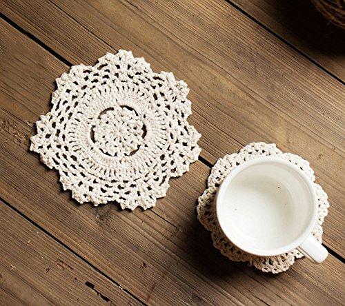 Iceblueor handmade in pizzo di cotone tovagliette sottobicchiere rotondo fiore all' uncinetto centrini 6pezzi (14cm bianco)