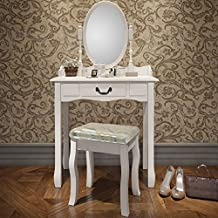 Miadomodo - Mesa para maquillaje - Tocador moderno para dormitorio con cajón, taburete y espejo desmontable - dipsonible en color blanco o negro