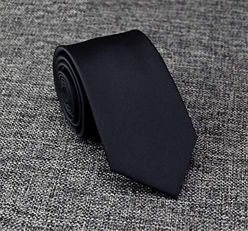 WUNDEPYTIE Krawatte Für Männer 5 / 7Cm Koreanische Version des Multi-Style-Reißverschlusses/Handgefertigte Krawatte, 7Cm Von Hand Gepflückt In Reinem Schwarz (Von Hand Gepflückt)
