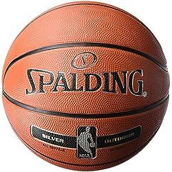 SPALDING - NBA SILVER OUTDOOR SZ.5 (83-568Z) - Ballons de basket NBA - Touché et Contrôle améliorés - Matière Durable - orange