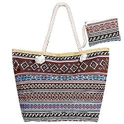 Czemo Große Strandtasche mit Reißverschluss und Innentasche Wasserdicht Badetasche Einkaufstasche Shopper für Damen