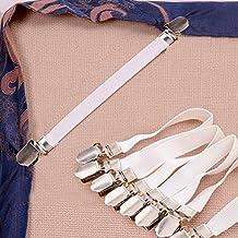 LeRan 4Pcs Sábana Sujetadores Pinzas correas de colchón Sujetadores elásticos Tirantes Cama Fasteners (Blanco)