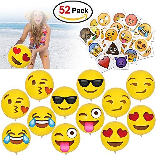 """Konsait 12 """" Klein Emoji Wasserball Aufblasbare Strandball Pool Sandspielzeug und Emoji Smiley Temporäre Tattoos Mitgebsel Gastgeschenk Für Kinder Erwachsene Geburtstag Party 52 Stück"""