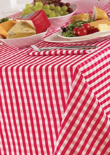 Country Look Gingham Cherry 52x70in (132x178cm) Oblong Tablecloth by Country Look