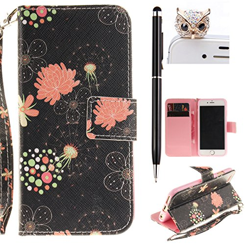 iPhone 6 Hülle,iPhone 6S Case - Felfy Flip Bookstyle Wallet Luxe Handyhülle Retro Painted Niedlich Farbe Muster Premium Slim PU Leather Stand Wallet Flip Lederhülle Case Cover Pouch Shell Soft mit TPU Strap Blütenfarbe