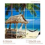 Graz Design 765066_20x25_60 Fliesenaufkleber Fliesenbild Häuschen und Hängematte unter Palmen am Strand (Fliesenmaß: 20x25cm (BxH)//Bild: 60x60cm (BxH))
