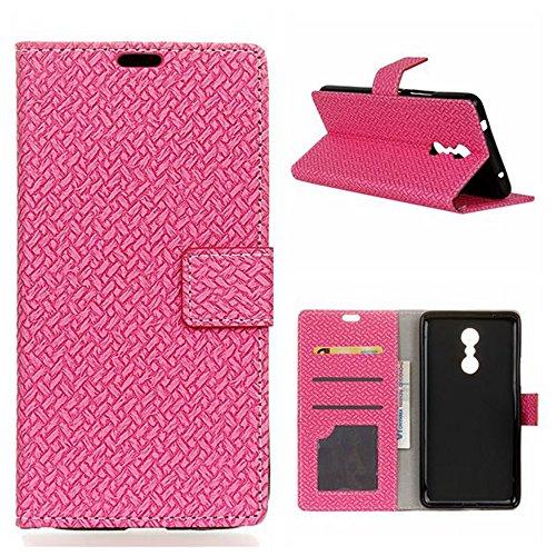 YHUISEN Lenovo K6 Nota Case, Weave Muster Magnetverschluss PU Leder Brieftasche Flip Folio Schutzhülle Abdeckung Für Lenovo K6 Nota ( Color : Pink ) Pink