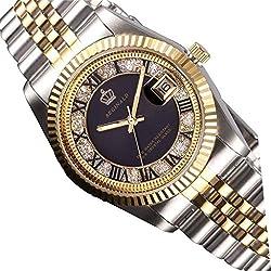 tarshow Herren Stahl Armbanduhr Business Uhren Herren 30m wasserabweisend schwarz Uhren