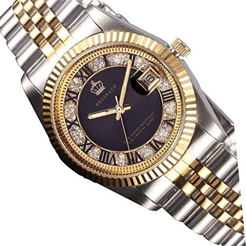 tarshow Orologio da uomo Business orologi uomo 30M resistente all' acqua in acciaio nero orologi
