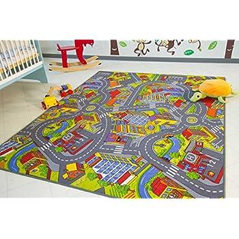 Childrens Reversible Roadmap Farmlife Playmat Rug Bedroom