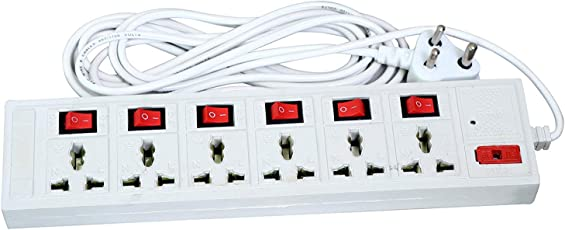 6+6 Power Extension Board by Madhram | Suitable for household, office, computer and its peripherals | Power cable with 4 yards | Multi-plug 6 international 3 pin sockets with One switch | Fuse and Spark Suppressor, Led Indicator (White)