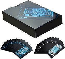 Gogogo 55 Teile / Deck Reines Schwarz Regular Poker Wasserfest Kunststoff PVC Set Spielkarten