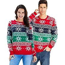 Goodstoworld Jersey Navidad Adulto Hombre y Mujer Novedad Elfo Motivos  Suéter Tejido Ugly Christmas Sweater Unisex 5ca0c78ee2c0