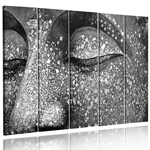 Feeby frames, quadro multipannello di 5 pannelli, quadro su tela, stampa artistica, canvas tipo c, 100x150 cm, zen, buddha, statua, meditazione, nero e bianco