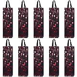 10 sacs à bouteilles sacs à cadeaux pour vin, prosecco et champagne 40 x 12 x 9 cm - verres rouges