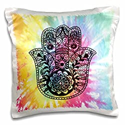 3dRose Tie Dye Hamsa - pillow Case, 16 by 16-Inch (pc_200822_1)