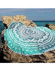 QHGstore Fader color redondo de algodón Mantel Tippet la toalla de playa Yoga Mat Ronda Verde 150cm