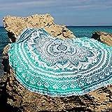QHGstore Fader Farbe Runde Cotton Tippet Tischdecke Strandtuch Runde Yoga Matte Grün 150cm