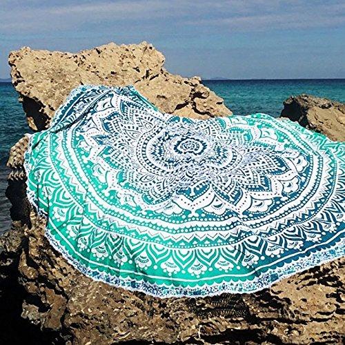 QHGstore Fader color redondo de algodón Mantel Tippet la toalla de playa Yoga Mat Ronda Verde
