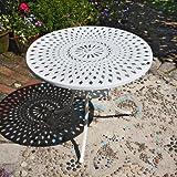 MIA Mesa de aluminio redonda blanca 90cm