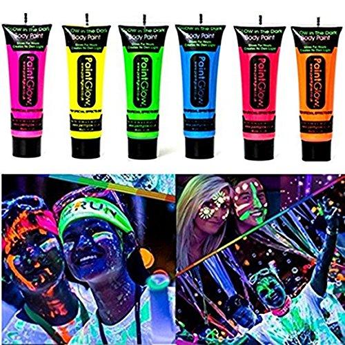 GARYOB Glow in Dark Body Lack Körper & Gesicht Glow Hintergrundbeleuchtung Neon Fluoreszierend 0,35 Unzen Set von 6 Tubes