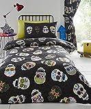 Homespace Direct Jungen Bettwäsche-Set Sugar Skulls Wendbar Bettdeckenbezug und1Kissenbezug, Schwarz, Einzelbett-Größe