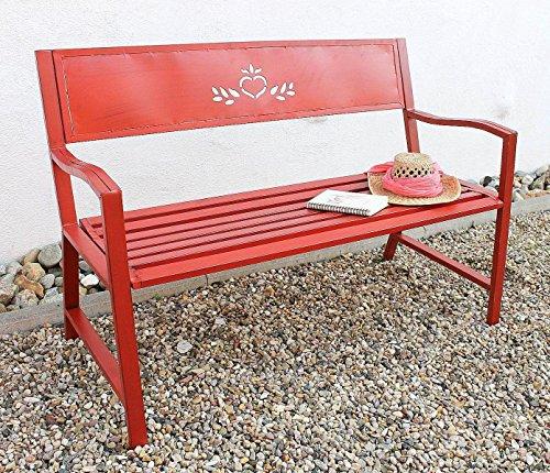 DanDiBo Bank Passion Gartenbank Rot 2 Sitzer 121496 Sitzbank 120 cm Metall Eisen Blumenbank Garten - 7