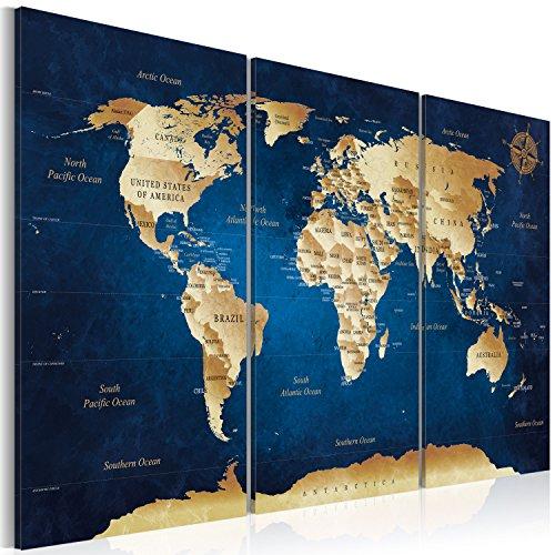 Murando quadro 120x80 cm - 3 motiv zur auswahl - 3 parti - quadro su tela fliselina - stampa in qualita fotografica – mappa del mondo arte k-a-0107-b-m 120x80 cm